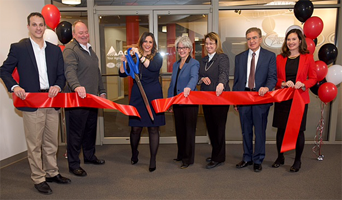AGCO and University Leadership celebrate the opening of the new Acceleration Center at the University's Urbana-Champaign Research Park.